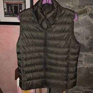 Uniqlo down vest in moss-olive green. Hard to find